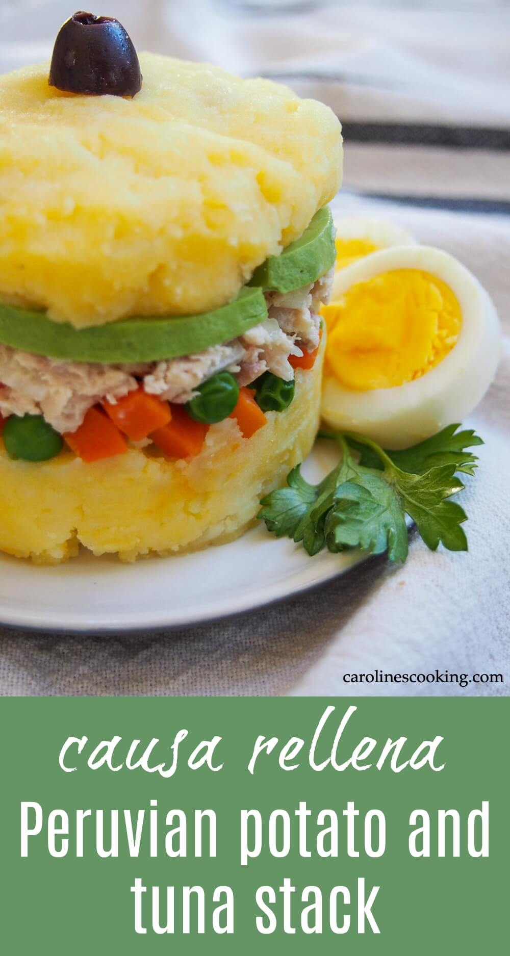 Causa rellena is a classic Peruvian appetizer that takes simple ingredients and transforms them into something elegant and delicious. This pretty layered stack is great for entertaining and more. #peruvian #potato #tuna #appetizer