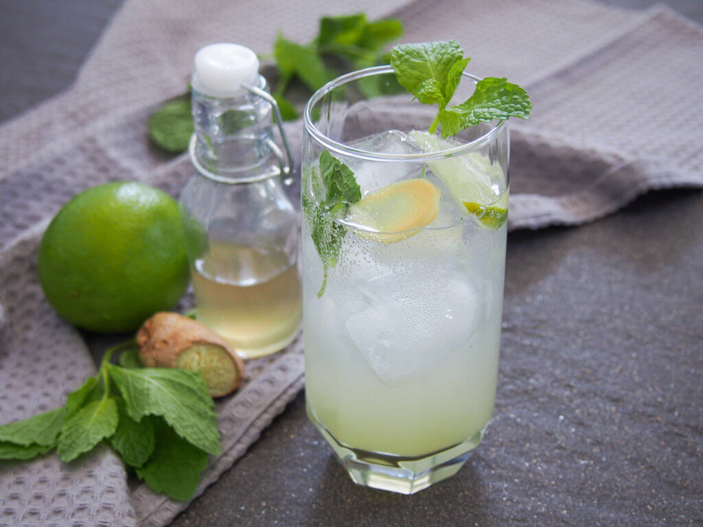 glass of ginger mojito with syrup, lime, mint and ginger to side