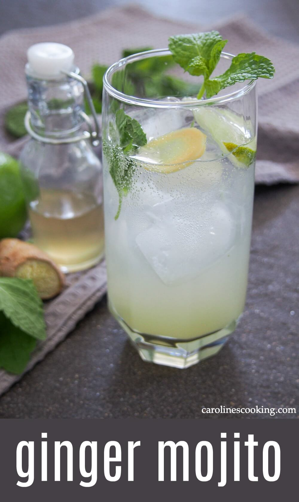 This ginger mojito is easy to make, with a great ginger kick from the homemade ginger syrup. Fresh, bright and perfect for any occasion.