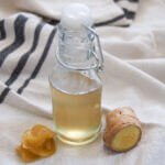 bottle of ginger simple syrup