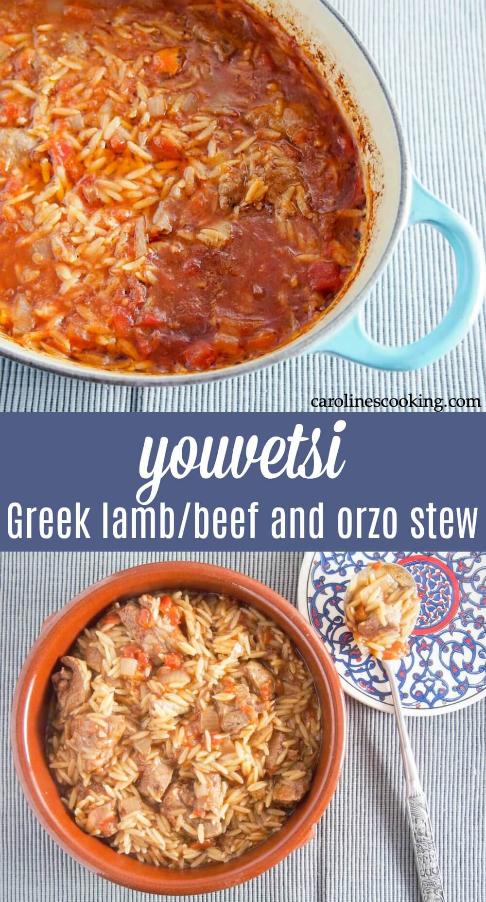 Youvetsi is a delicious Greek stew made with beef or lamb and orzo cooked in a tasty tomato-based sauce. It's flavorful, comforting and easy to make too with easy to find ingredients. Great comfort food. #stew #greekfood
