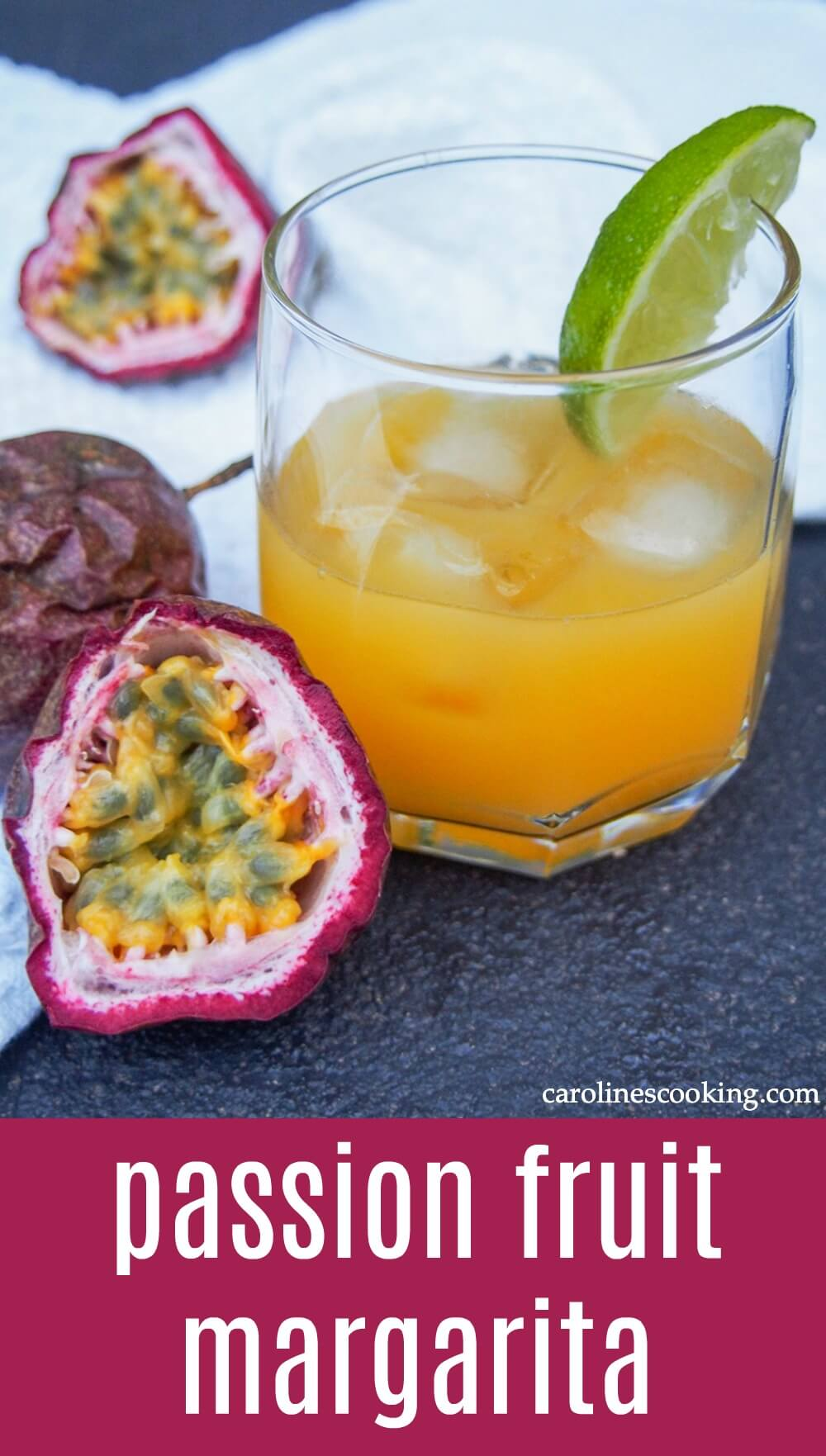 This passion fruit margarita puts an aromatically fruity twist on the classic cocktail. Easy to make, using fresh fruit, it's perfect served over ice on a warm day. #margarita #passionfruit #cocktail #cincodemayo
