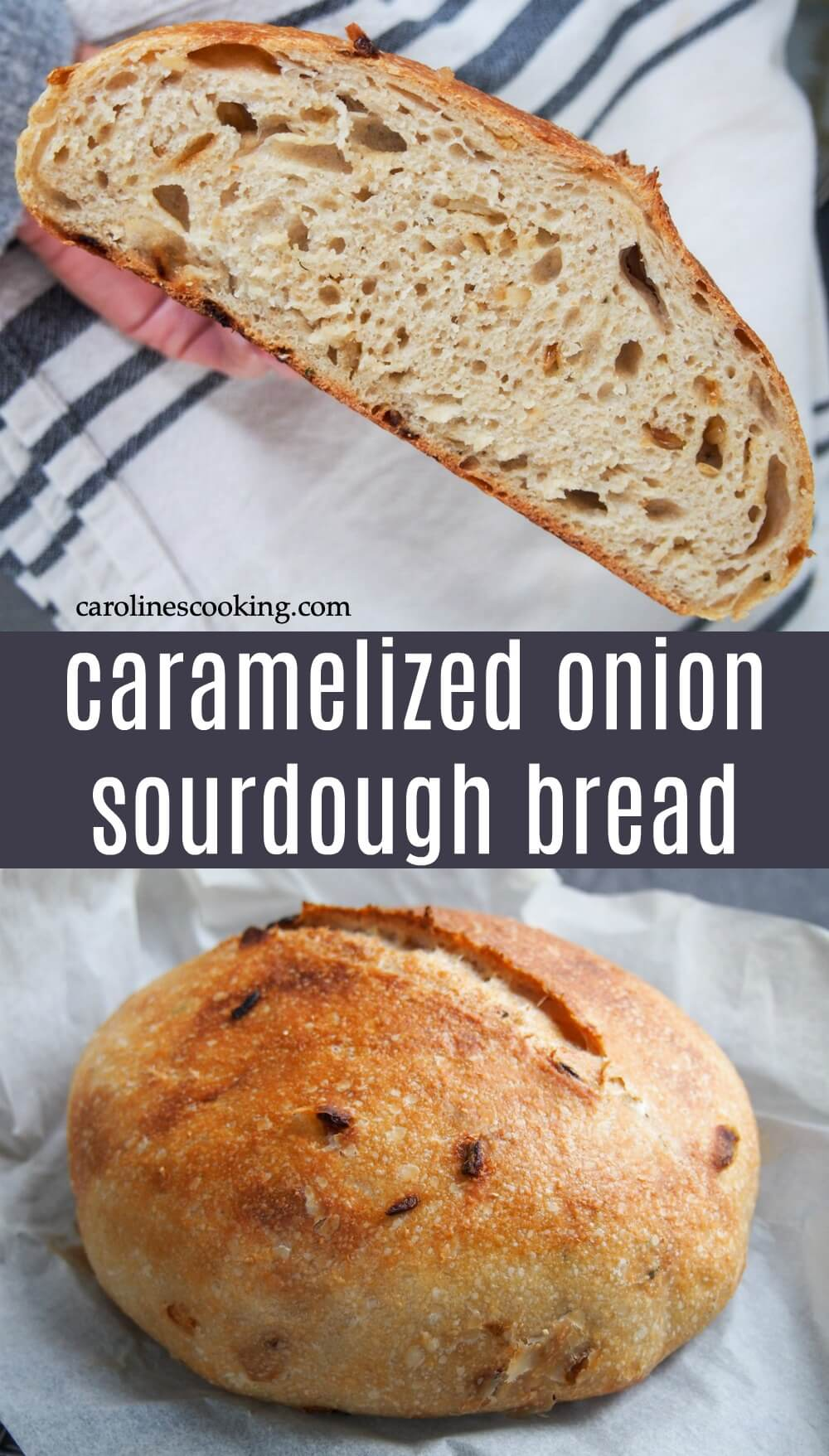 This naturally leavened sourdough bread has such a wonderful flavor - the classic sourdough tang with sweet bursts from the onions are such a great combination. Crisp outside, tender inside, it's great with just a touch of butter. Yes, it takes a bit of time, but most is hands off and believe me, it's well worth it. #sourdough #bread #baking