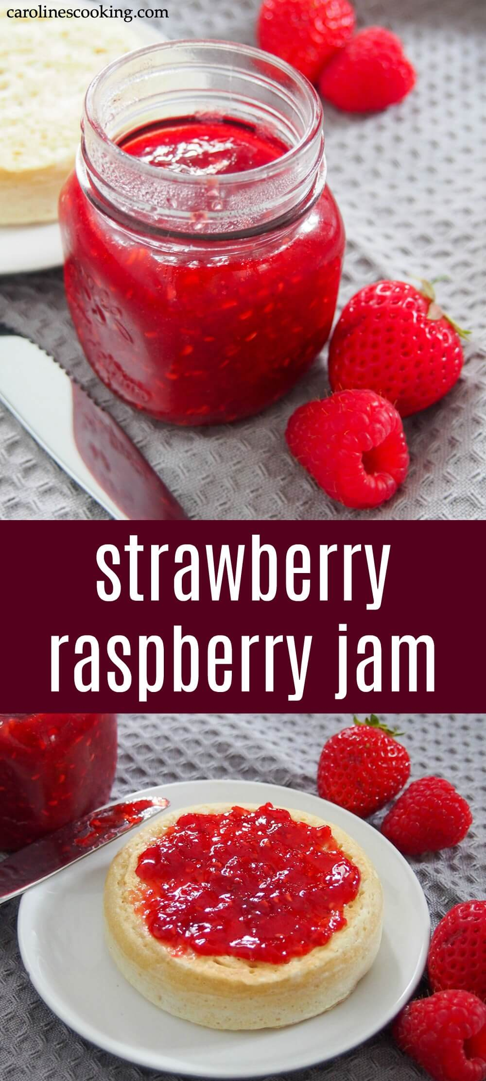 This strawberry raspberry jam is a delicious combination of summer berries in a sweet, bright spread. This recipe makes a small batch in no time that's perfect to top your toast and more. #jam #homemadejam #strawberry #raspberry #smallbatchjam