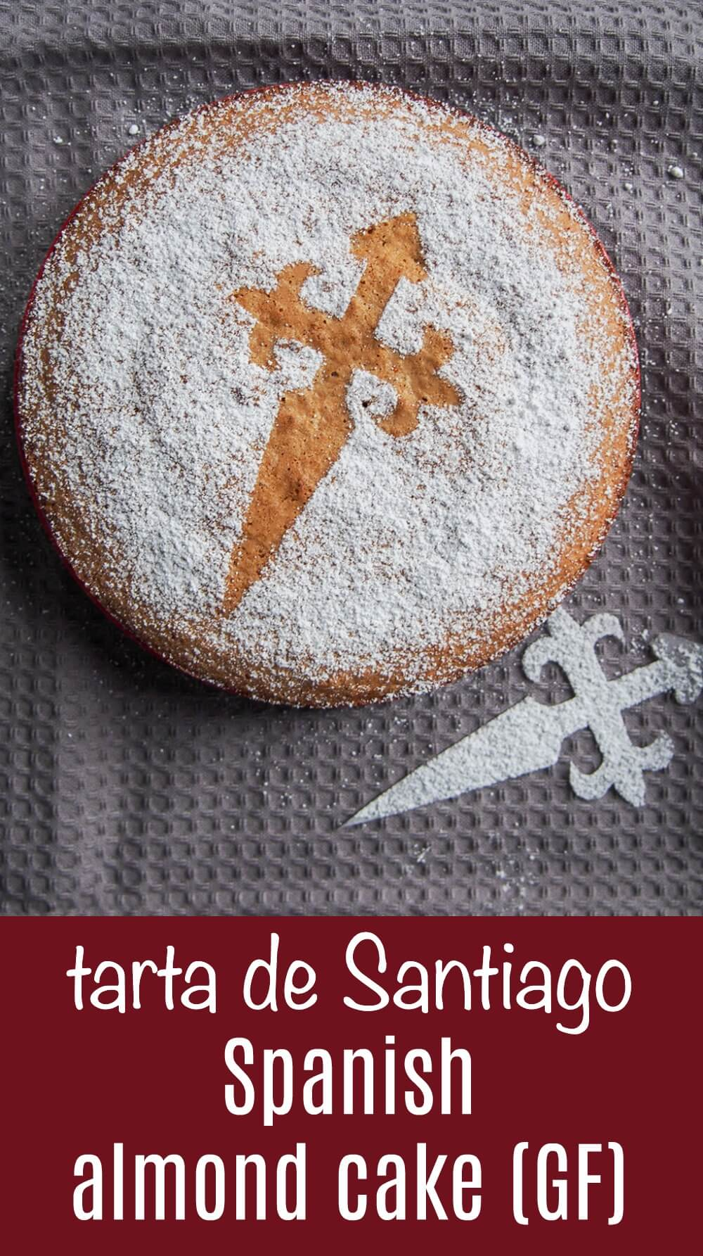 Tarta de Santiago is an almond cake from Spain that couldn't be easier to make. It's naturally gluten free, with a little brightness from lemon and lovely sweet, soft texture. Great for coffee time or dessert. #glutenfree #cake #spanishrecipe #almond