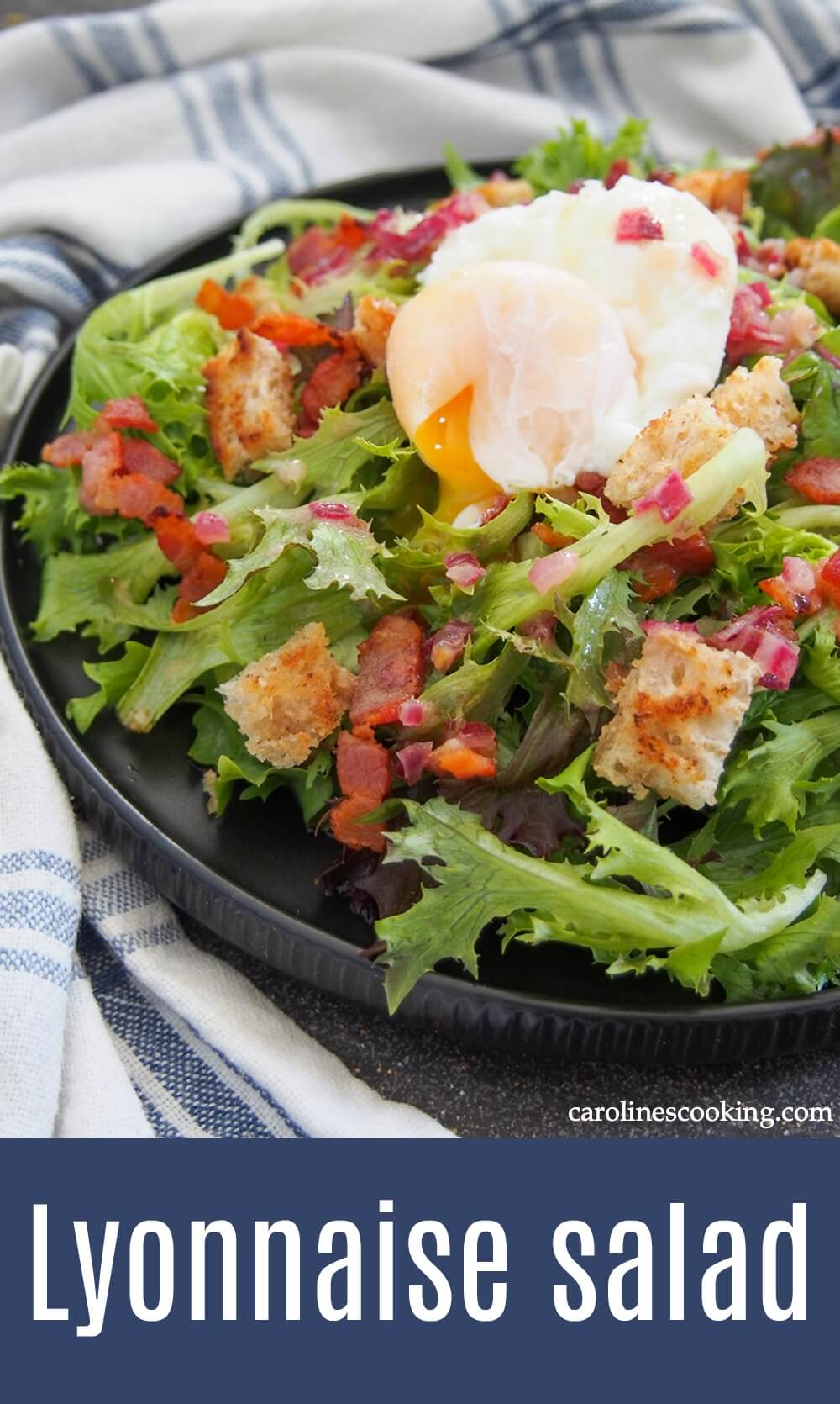 A classic Lyonnaise salad (salade Lyonnaise) may be little more than greens, bacon and egg but when combined, they become special. The punchy mustard in particular brings it all together. It's popular in bistros across France for good reason, and so easy to make at home as an appetizer or light lunch. #salad #frenchrecipe #baconsalad