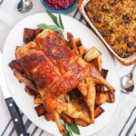 roast duck, stuffing and cranberry sauce