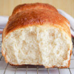 side view of torn loaf of Japanese milk bread