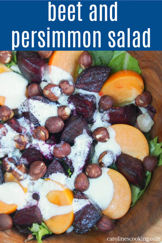 This winter beet salad is short on ingredients but full of flavor. From earthy beets to fragrant persimmon, all topped off with a delicious creamy goats cheese dressing. Great for lunch or as a side.