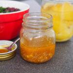 Jar of preserved lemon vinaigrette