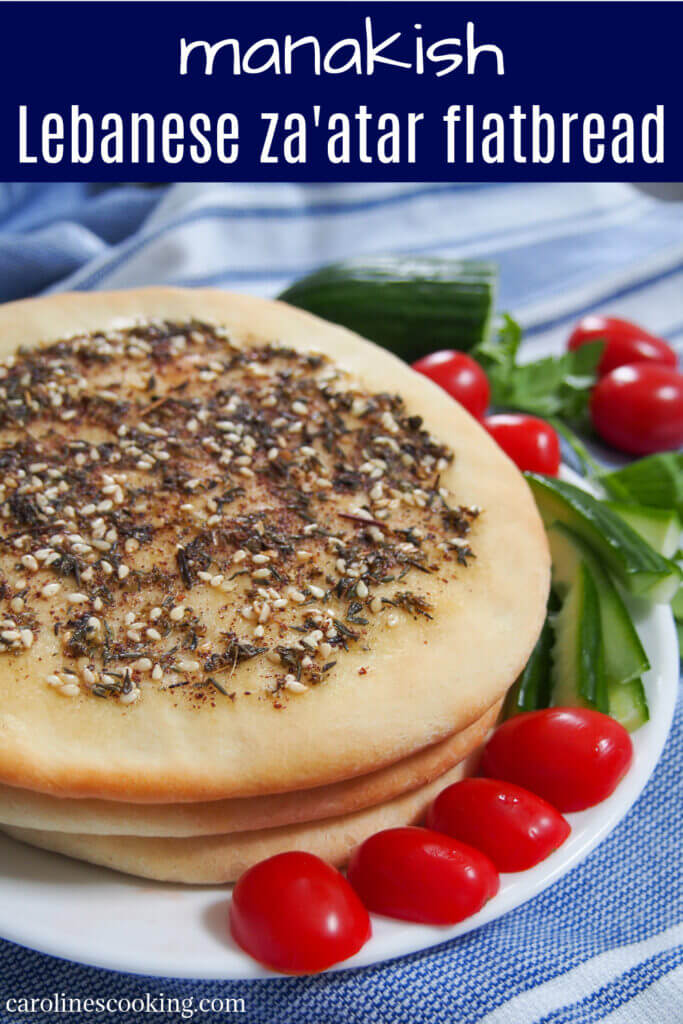 Manakish za'atar are delicious flatbread from the Levantine region topped with olive oil and za'atar. The oil and herbs add lots of aromatic flavor, making this bread perfect to snack on. #flatbread #zaatar #middleeasternbread #lebanesefood