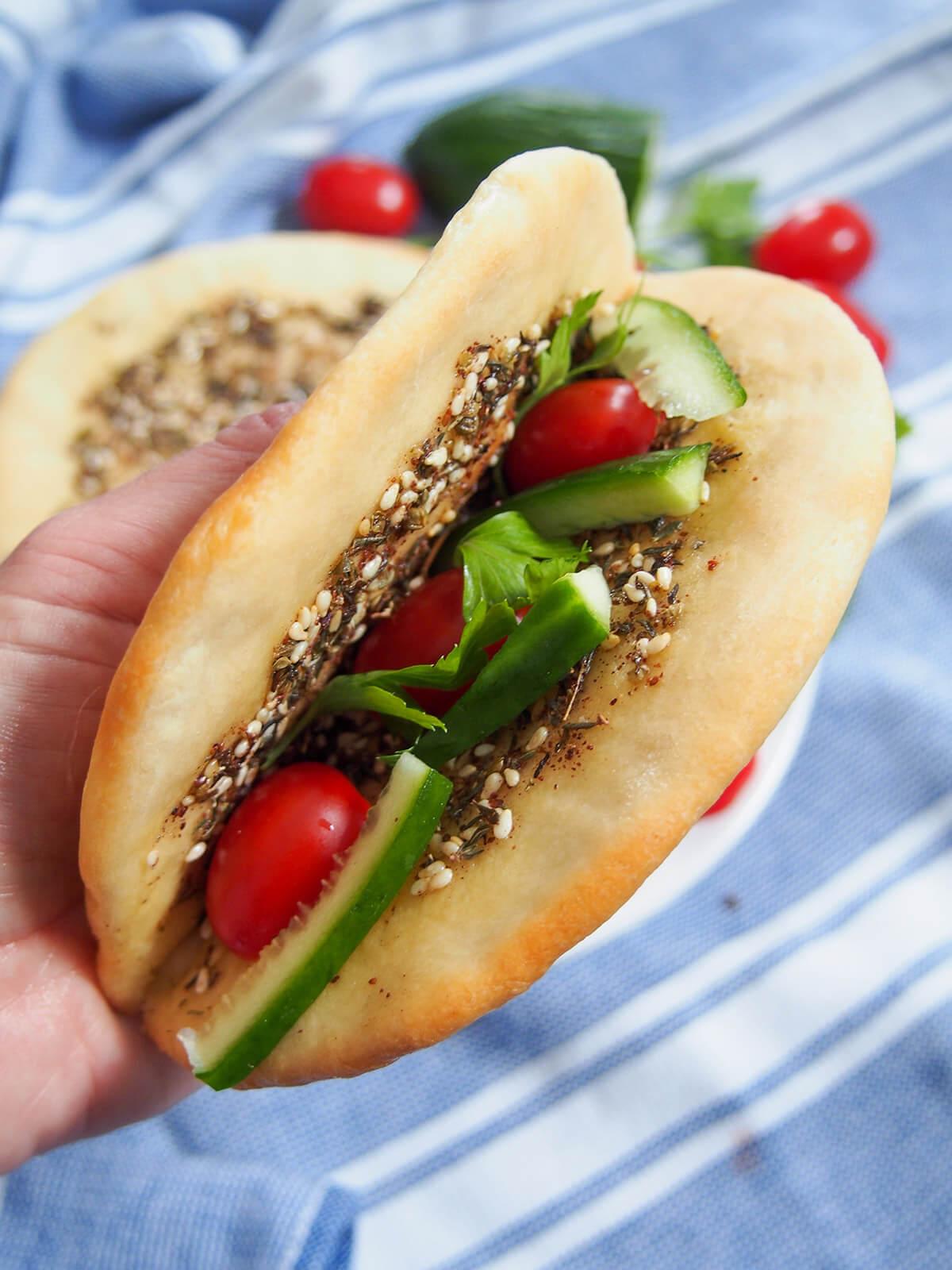 Manakish Lebanese za'atar flatbread   Caroline's Cooking
