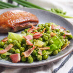 Petits pois a la francaise French peas on plate