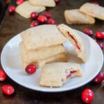 plate of cranberry jam filled shortbread cookies