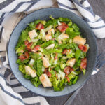 bowl of chicken and bacon salad from overhead