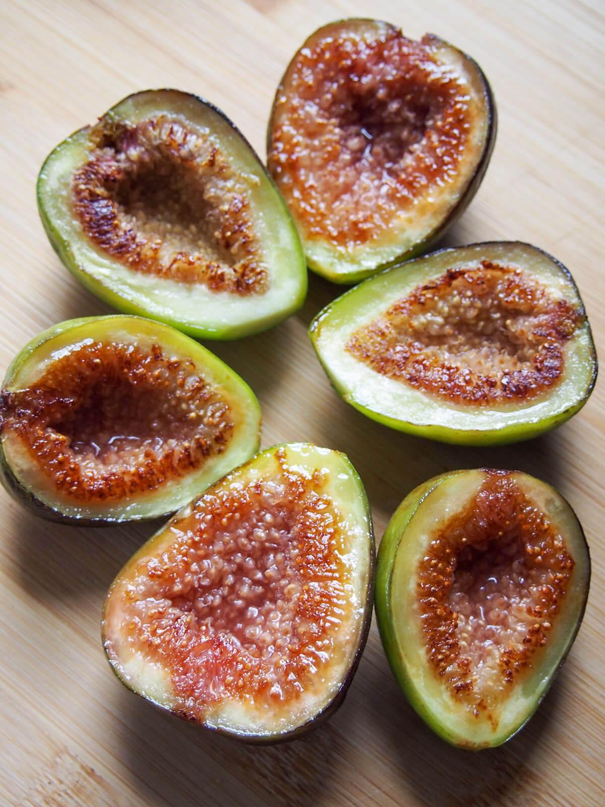 seared fig halves