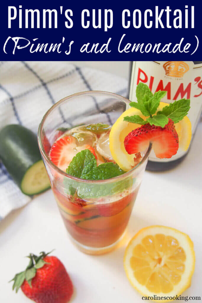 A Pimm's cup cocktail (Pimm's and lemonade) is such a classic, easy British cocktail. It's light, fresh and perfect for summer barbecues, picnics or any excuse you can find. #cocktail #pimms #summercocktail
